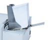 "Integrated feeder holds up to 500 #10 envelopes at a time, and can handle materials up to 3/8"" thick"