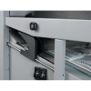 Outfeed rollers are adjusted automatically based on paper size and fold type