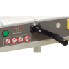 Spindle-guided back gauge and LED digital readout provide accurate cutting