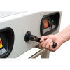 Hand crank back gauge adjustment works with the LED readout for precise positioning of the paper stack