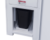 Molded plastic waste bin for easy removal and disposal of shredded particles